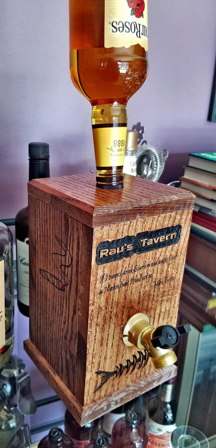 Personalized / Whiskey Dispenser/ Bourbon Drinker Gift/ Drink Dispenser/ Fireball Whiskey Dispenser/ Fathers Day Gift Idea/  FREE SHIPPING! by MRWoodCrafting on Etsy