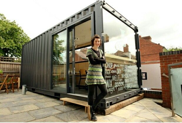 Converted shipping container.