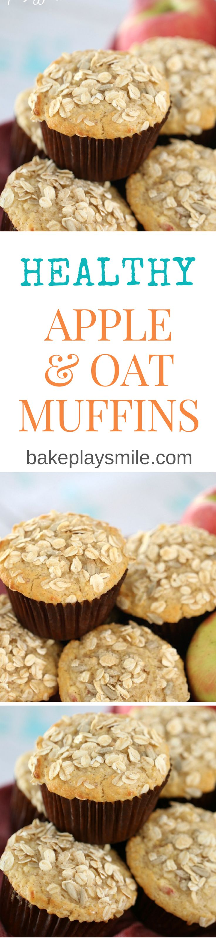 These Oat & Apple Muffins are so quick and easy. Just 10 minutes preparation and you'll have a batch of the most deliciously moist muffins. Perfect for lunch boxes or an afternoon treat. #apple #oat #muffins #healthy #recipe #kids #snacks #conventional #thermomix #easy http://bakeplaysmile.com/oat-apple-muffins/