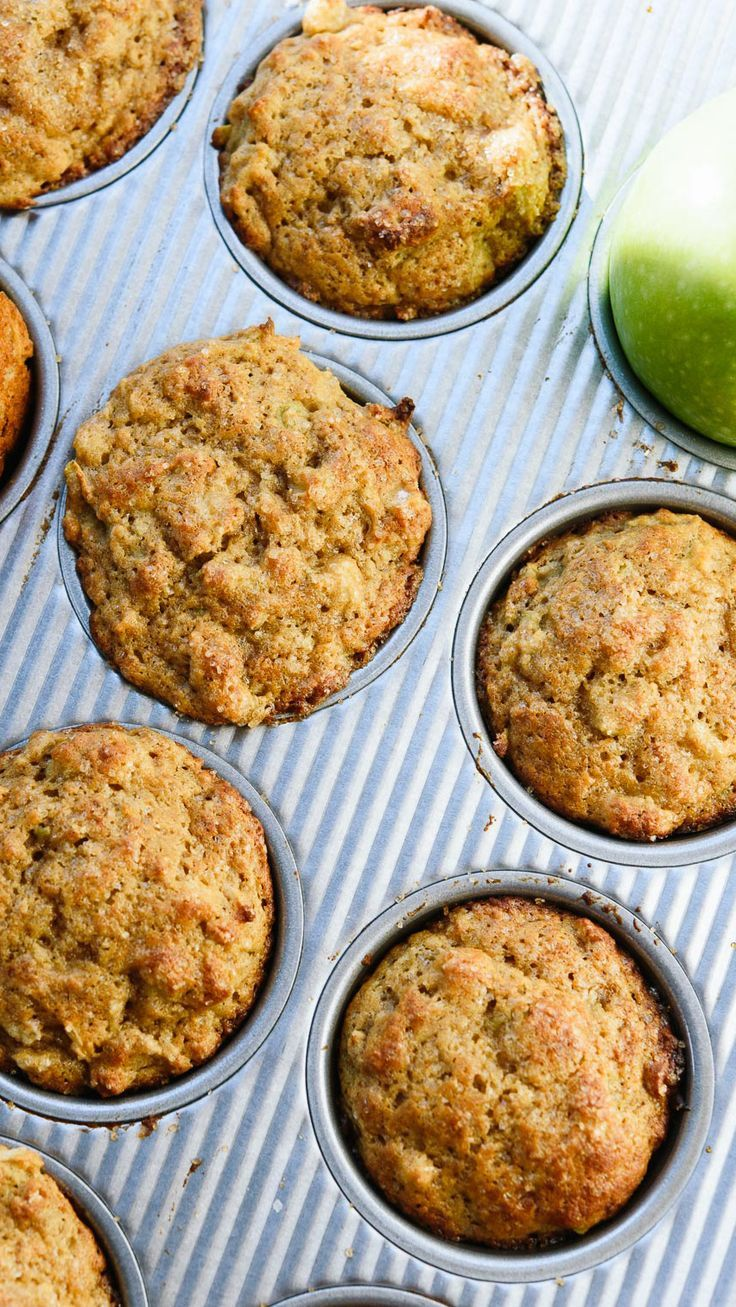 These healthy apple muffins are naturally sweetened and made with 100% whole grains!