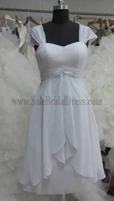 Simple Short Wedding Dresses For The Beach Chiffon Sweetheart Cap Sleeves Criss Cross Column Sheath Under 1000 Wedding Dresses