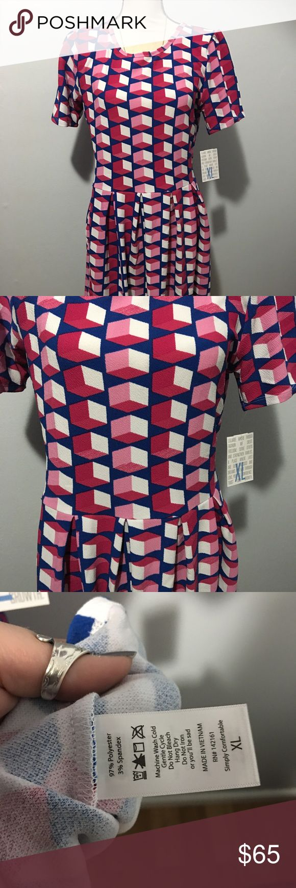 XL Amelia lularoe This XL Amelia lularoe dress is so pretty with blue and pink. New with tags. LuLaRoe Dresses