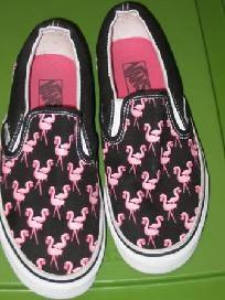 VANS Canvas Slip On Loafer Style Shoe Size 8 Black/Pink Flamingo Print EUC
