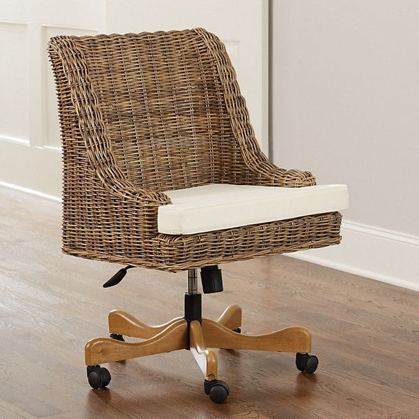 Ballard Designs Chastain Woven Desk Chair ($599) ❤ liked on Polyvore featuring home, furniture, chairs, office chairs, woven chair, pneumatic chair, ivory chair, weave chair and cream chair