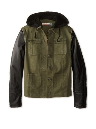 62% OFF Vintage Havana Girl's 7-16 Cargo Jacket with Faux Leather Sleeves (Olive)