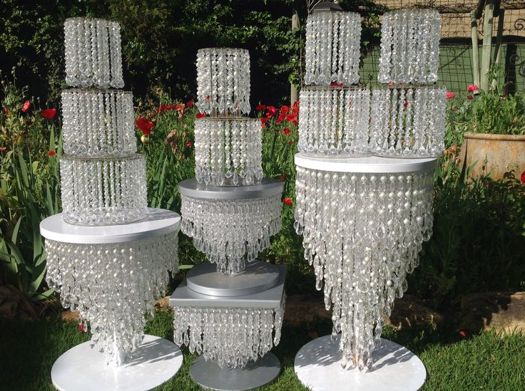 Crystal cake stands and separators.  Wedding cake stands
