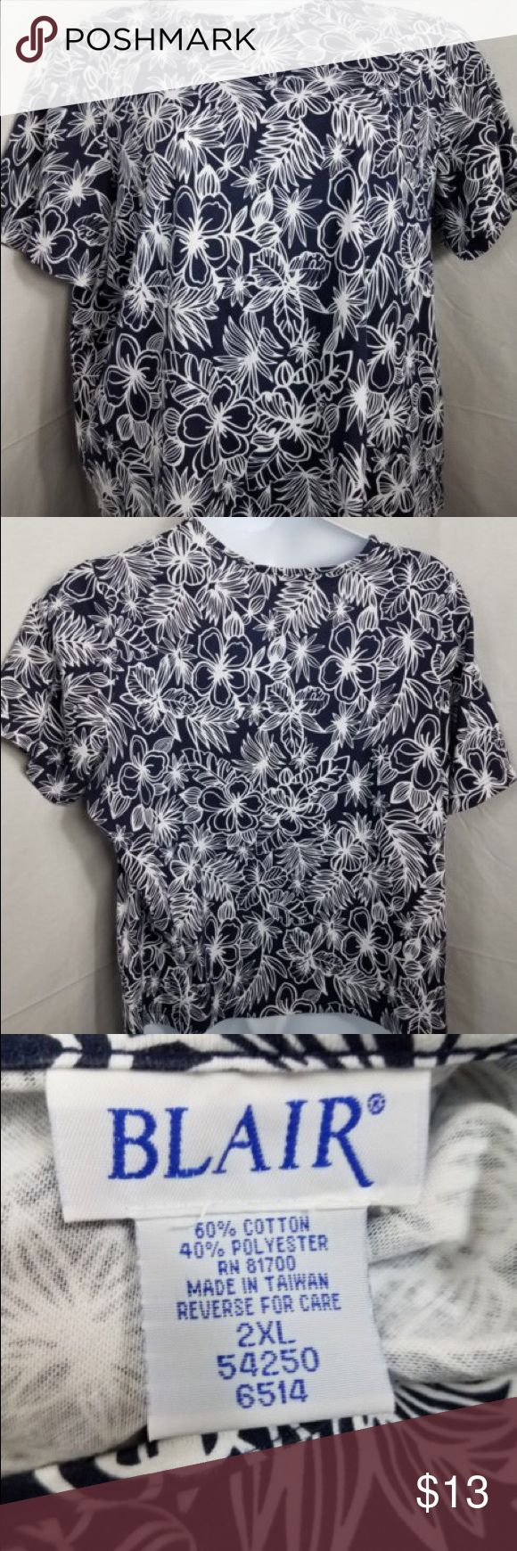 Blair Women's Size 2XL  Blue And White Blouse Chest-28.  Length-25.  Sleeve-10.  Inv-10 blair Tops Blouses
