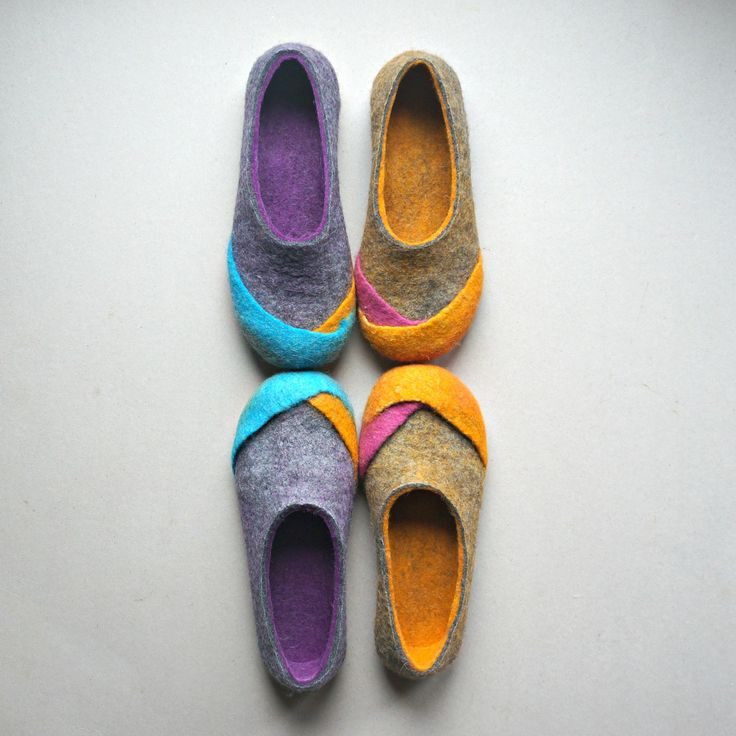 Women wool felt slippers felted home shoes felt slippers