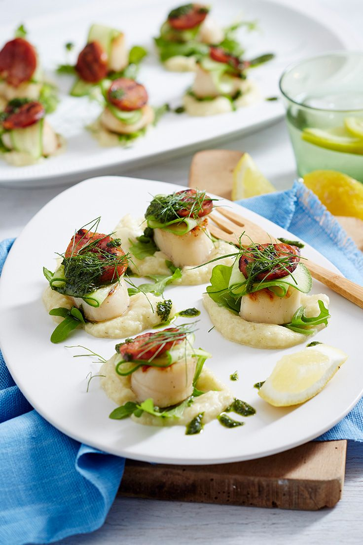 Lightly grilled scallops are here served with an apple and fennel puree and are dotted with homemade salsa verde. Plate them up when you want to impress a crowd.