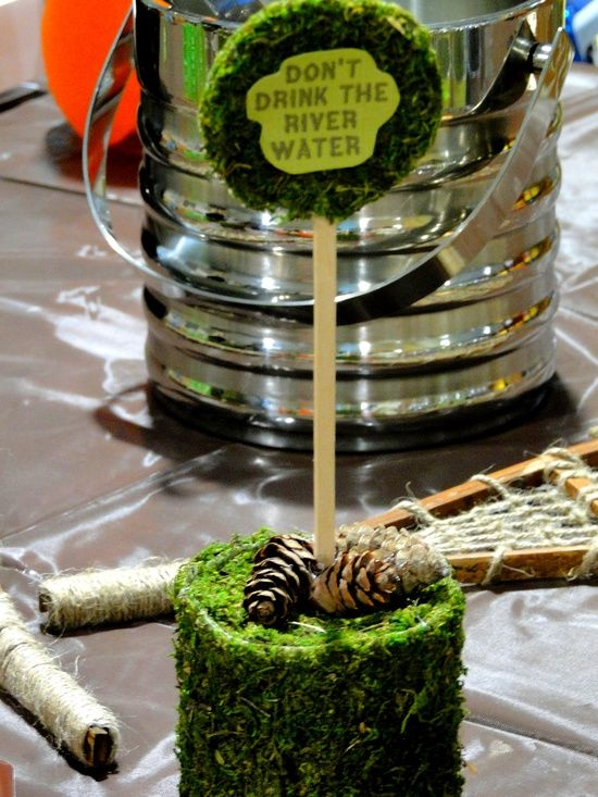 camping decor -  would be perfect for a party for mom & dad