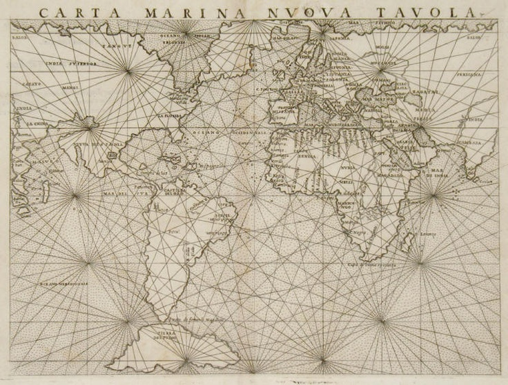 1561 Girolamo Ruscelli,  :Carta Marina Nuova Tavola, Sea Chart based on Gastaldi  ,  cosmography.com -- Thomas Suarez Rare Maps -- May, 2012