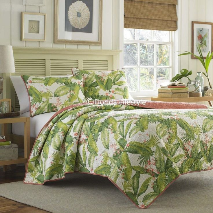 Add a touch of the tropics into your home with a Tommy Bahama quilt set featuring an allover tropical design of gorgeous palms in vivid green tones and florals in coral-peach hues against an ivory background. | eBay!
