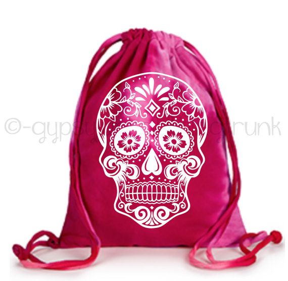 Tie Dyed Tote Bag - Skull Tote Bag - Sugar Skull Bag - Hippie Bag - Festival Bag - Skull Print - Day of the Dead - Back to School Tote by GypsyJunkClothing