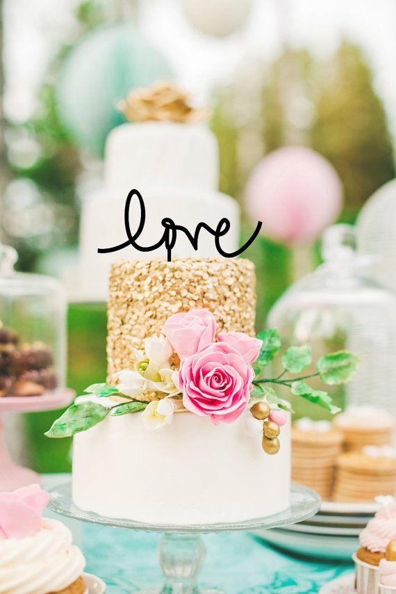 Liebe Hochzeitstorte Topper von ThePinkOwlGifts auf Etsy