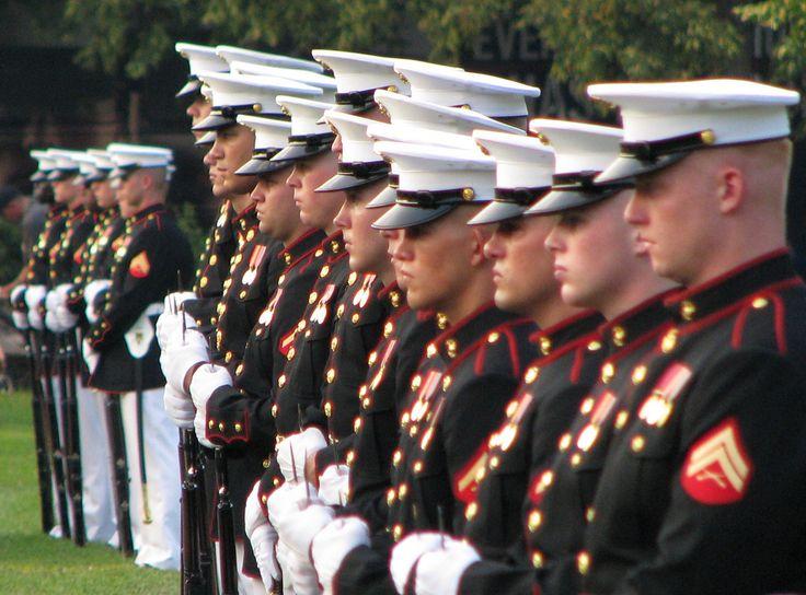 https://flic.kr/p/55sshL   Marines   Marine Corps War Memorial, Arlington, Virginia ... Marines lined up in front of the Marine Corps War Memorial for the weekly Marine Corps Sunset Parade, in Rosslyn, Virginia.