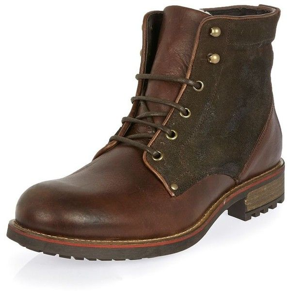 River Island Dark brown leather borg-lined boots ($49) ❤ liked on Polyvore featuring men's fashion, men's shoes, men's boots, men, mens dark brown boots, mens leather lace up boots, mens fur lined shoes, mens dark brown dress shoes and mens round toe boots