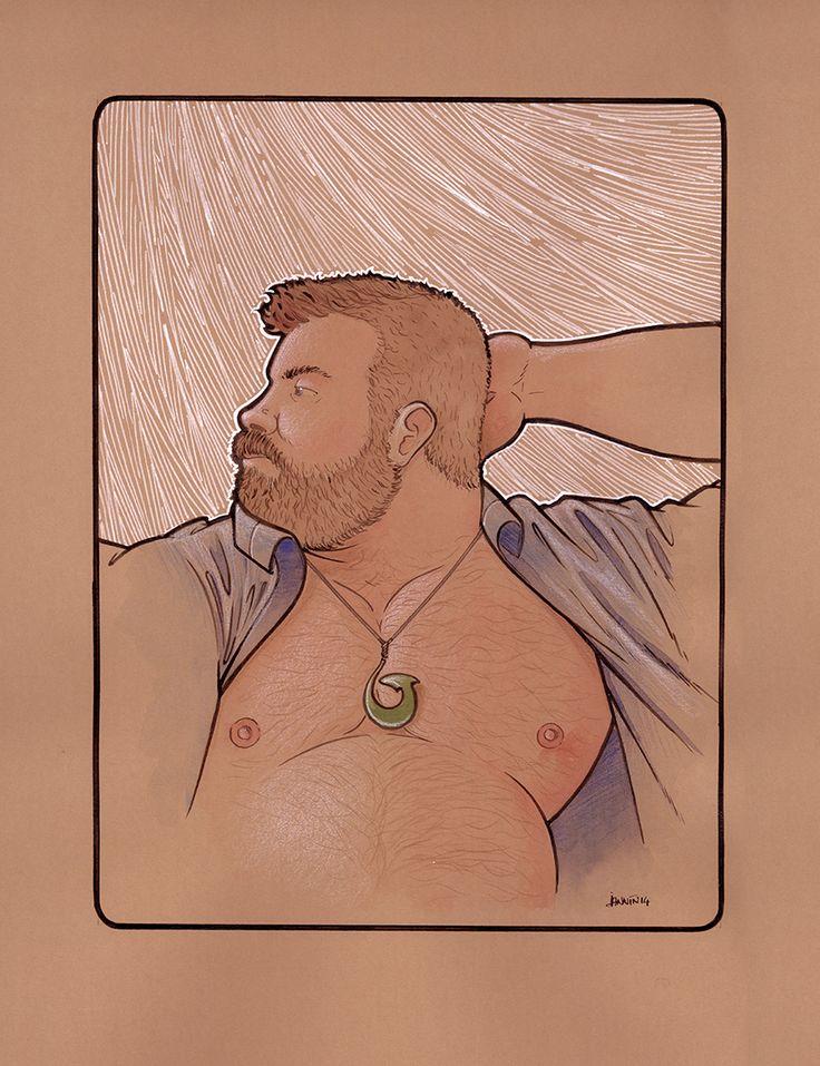 """""""Hei Matau"""" watercolours, colour pencils, wax white pencil, white paint, brown shellac ink on brown card"""