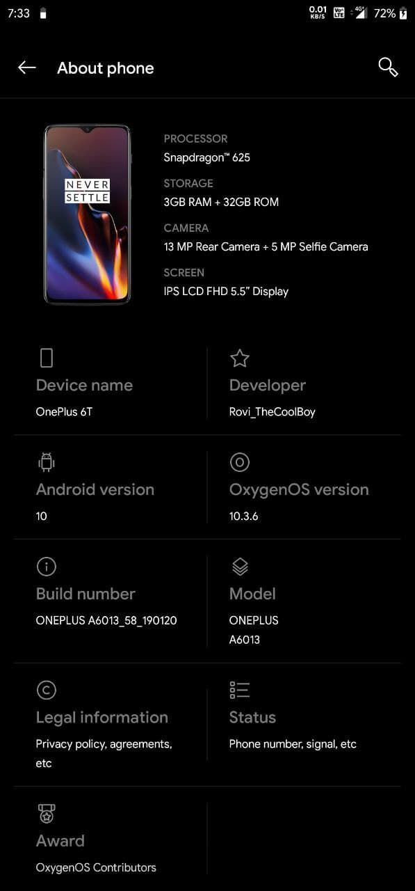One Plus 6t Oxygen Os Mido Redmi Note 4x Oneplus Rom Custom