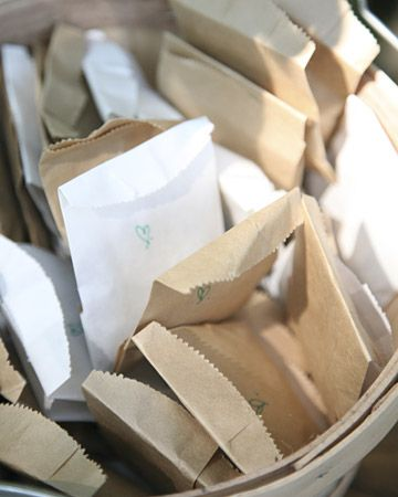 Paper bags of fresh lavendar to toss at bride groom instead of