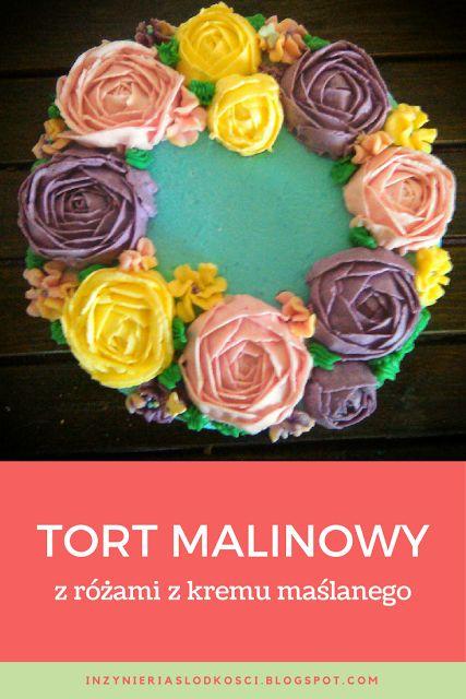 Tort malinowy z kwiatowym wieńcem - flower wreath cake