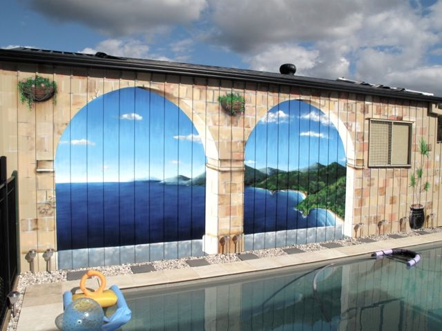 Turn your pool area into another world.   #aerosolart #style #design #mural #pool #backyard #escape #design