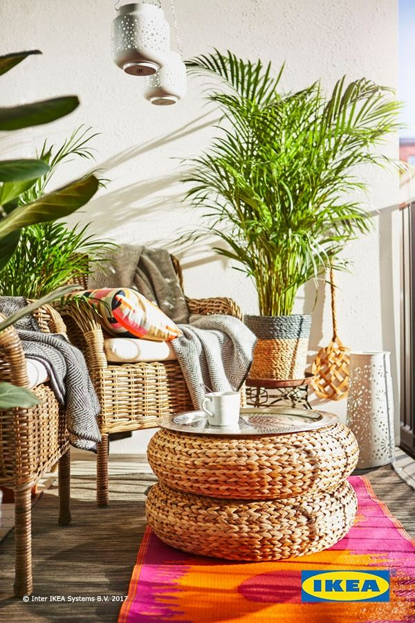 Get creative with your outdoor space! Stack these beautiful IKEA banana fiber stools to create a unique and stylish serving table. Find more ideas in our Spring Refresh Guide.