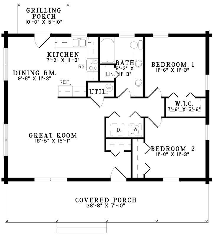 Nice small floor plan dream home pinterest house for Two bedroom log cabin plans