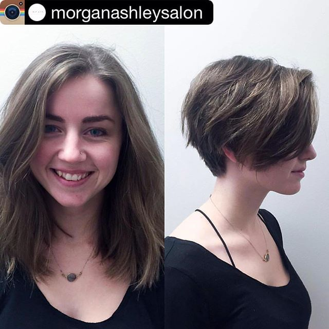 morganashleysalon with instagrab_pic -- Pixie cuts are such a cute and trendy way to satisfy those needing a big change. Our girl mollystilley did such a beautiful job!  #bumbleandbumble #pixiecut