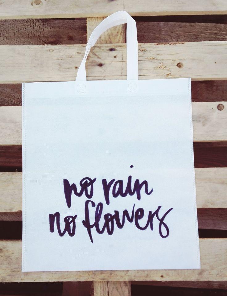 No Rain No Flowers Woven Tote <3