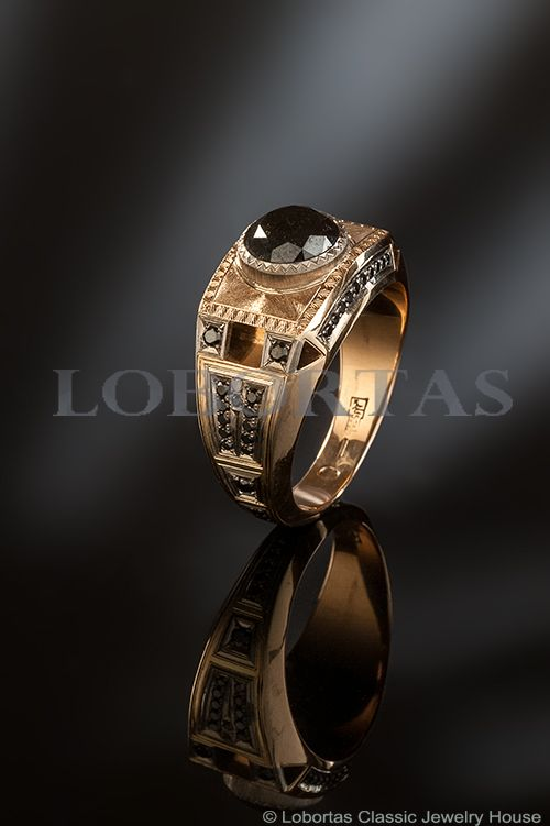 1.76 Carat Black Diamond Gold Ring «Eiffel»