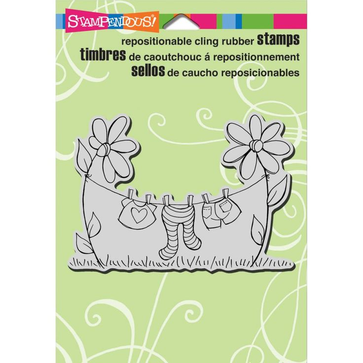 Stampendous Cling Rubber Stamp Clothesline