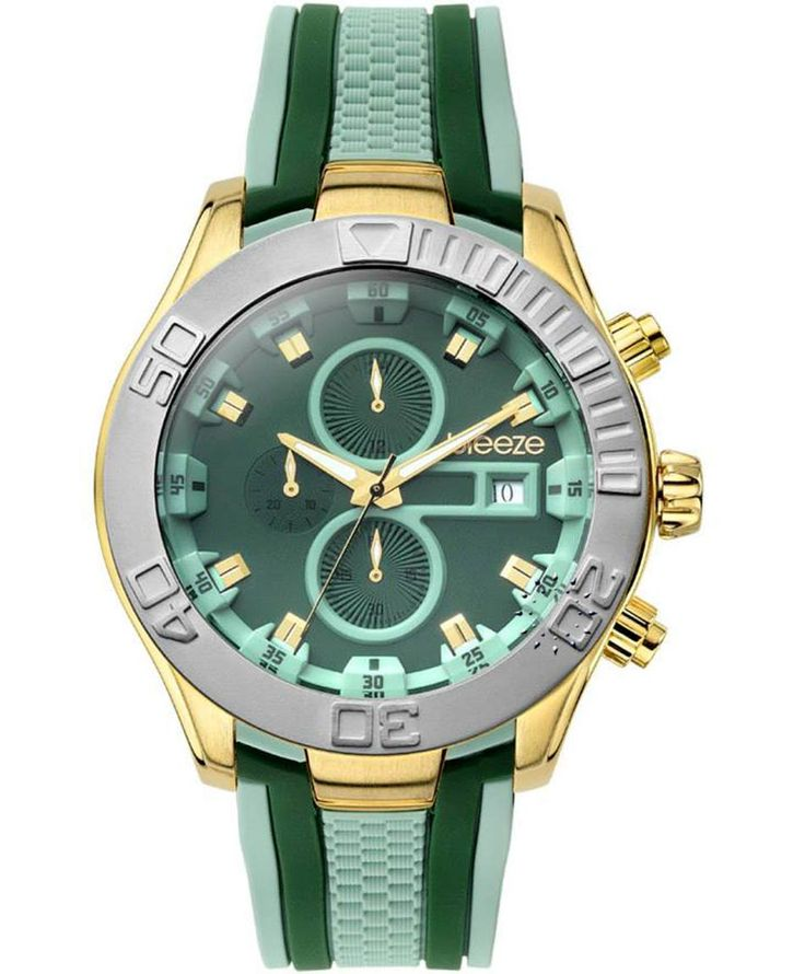 BREEZE Milkshake Stripes Chrono Green Rubber Strap Τιμή: 195€ http://www.oroloi.gr/product_info.php?products_id=35247