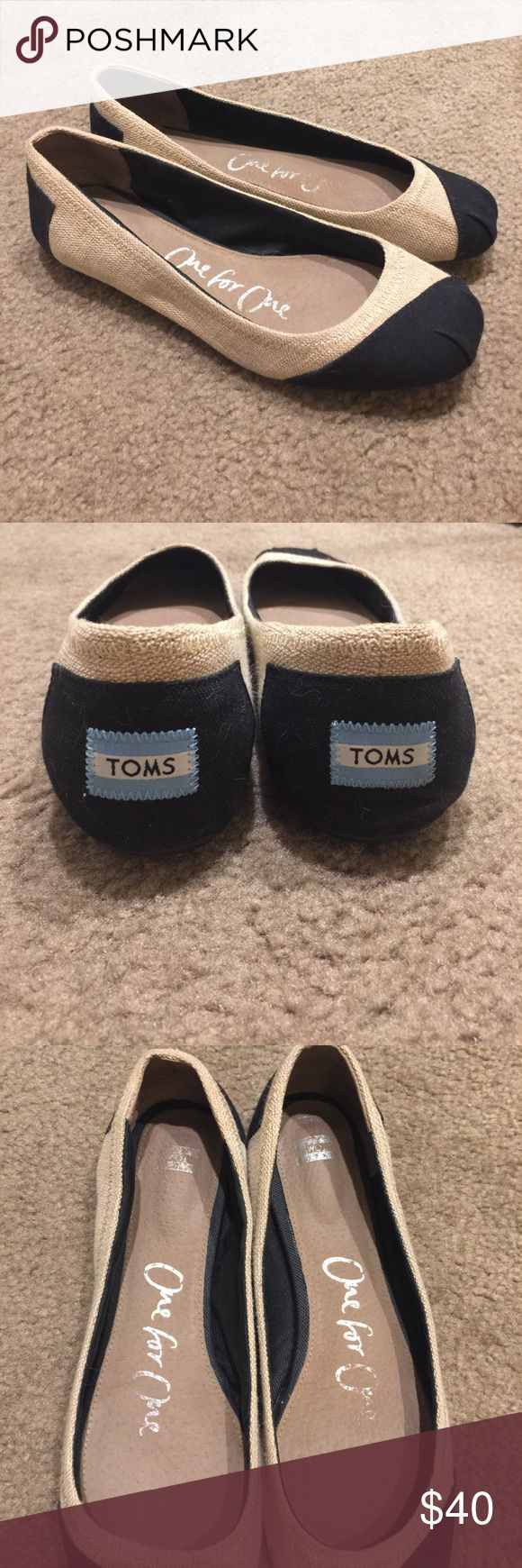TOMS Ballet Flat - Sz 8.5 Super cute, gently used and perfect for summer.  Some crinkling on the back heel of right shoe.  I do offer a bundle discount on two or more items, so shop my closet for other great deals! 🙌🏻😃 TOMS Shoes Flats & Loafers