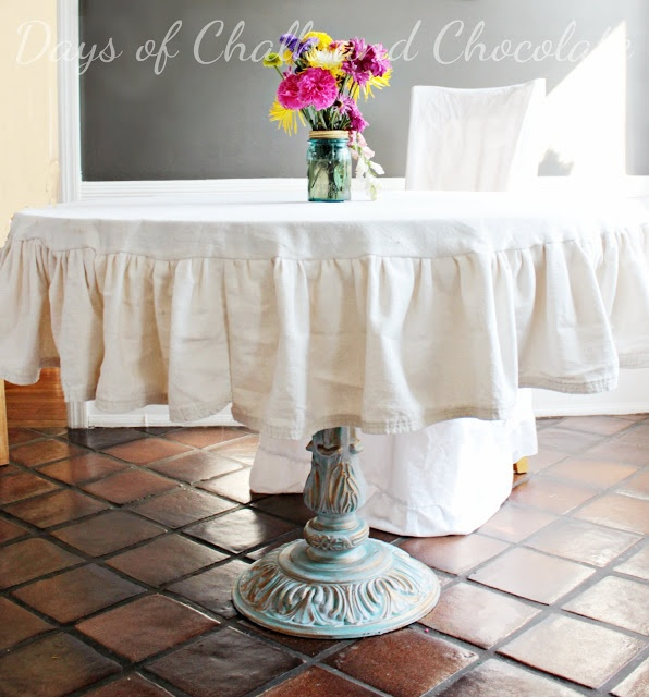 Days of Chalk and Chocolate: Table Refinishing, Fitted drop cloth tablecloth