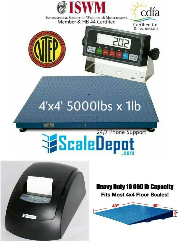 NEW NTEP Certified 48x48 5000lbx1lb Floor/pallet scale with Ramp and printer #PrimeScales