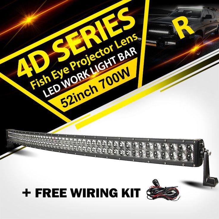 52 700W CURVED LED LIGHT BAR OFFROAD Fit For Jeep Wrangler JK YJ/Dodge Ram 1500
