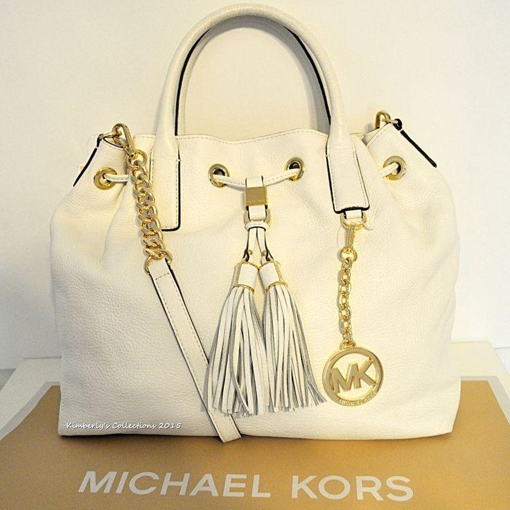MICHAEL KORS Camden Lg Leather Drawstring Shoulder Cross Body Tote Bag White NWT #MichaelKors #SatchelShoulderBagTotesShoppers