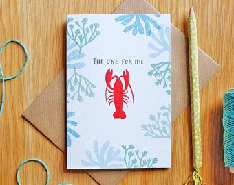 Lobster Card 'The One for Me' Romantic Illustrated Card by Stephanie Cole Design on Etsy #valentinesday