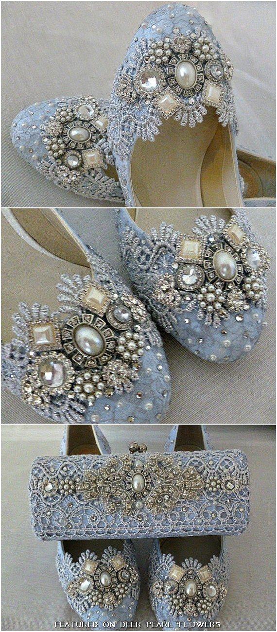 Low Heel Blue Lace Wedding Shoes / http://www.deerpearlflowers.com/vintage-lace-wedding-shoes/2/