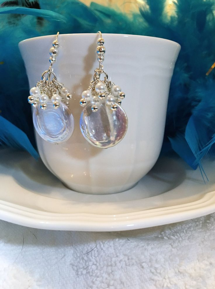 LARGE COIN PEARL Earrings ~ Bridal Jewelry ~ Wedding Accessory ~ White freshwater Pearls ~ by CJsJewelryWorks on Etsy