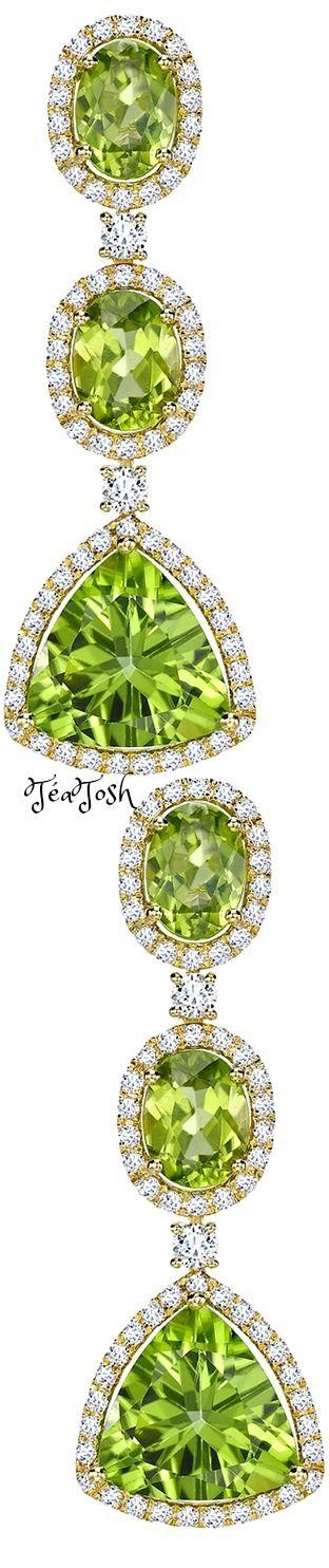 ❇Téa Tosh❇ Zesty green peridot & Diamond drop Earrings