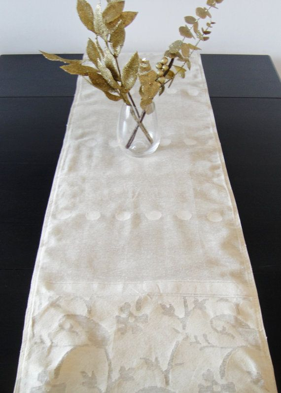 Table Runner Cream White Floral Jute U0026 By PrivateLabelBoutique, $28.00