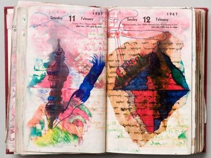 """vjeranski: """" Dieter Roth Diaries, 1965-1998. Hardcover leatherbound diary with drawings, coloured sketches, collages (cover) 17.5 x 11 x 3 cm / 6 7/8 x 4 3/8 x 1 1/8 inches. © Dieter Roth Estate...."""