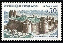 Fougères - Le Château - Timbre de 1960