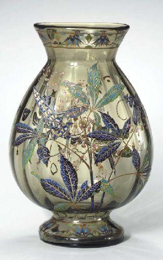 Enameled Glass Vase, circa 1895, signed E. Galle