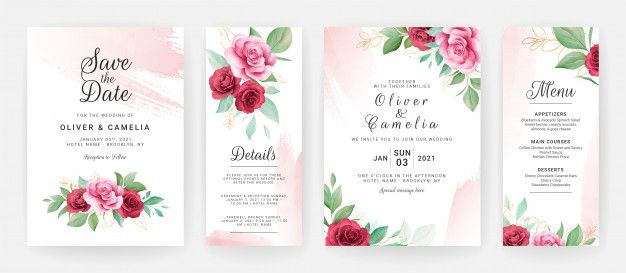Wedding Invitation Card Template Set With Watercolor Floral And Blush Brush Stroke Wedding Invitation Card Template Elegant Wedding Invitation Card Wedding Invitation Cards
