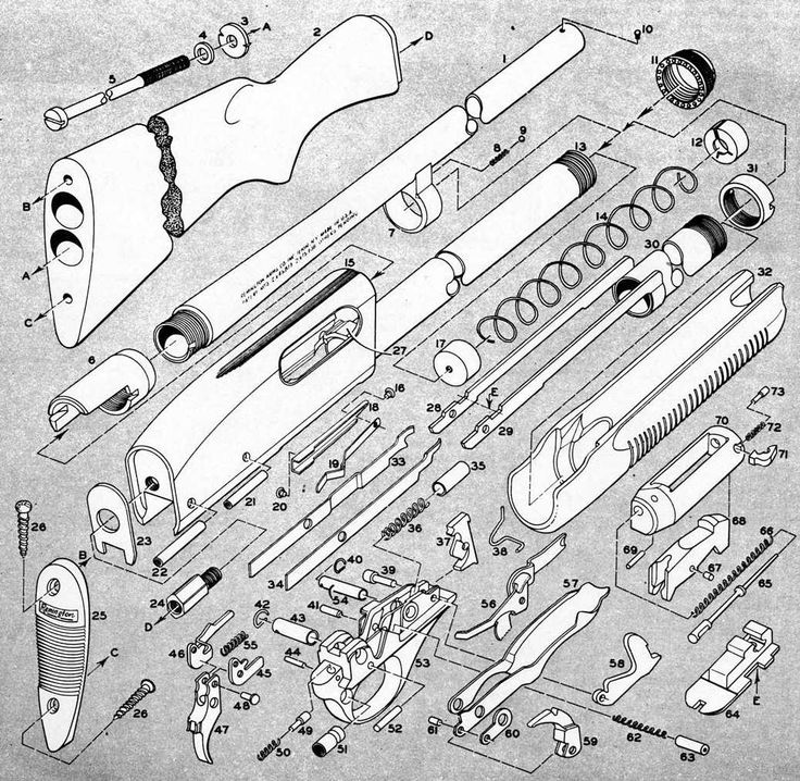 exploded view of a Remington 870 shotgun