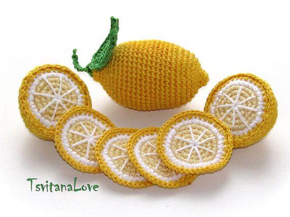 Crochet Fruit - Lemon+lemon slices (6 pcs) - Seasons - Eco-friendly - Decor…