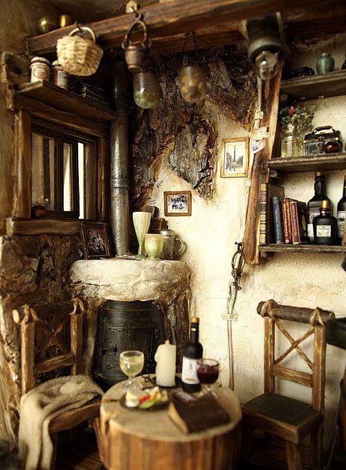 A well-kept faerie home.                              Miniatures by DollhouseAra.                        Via Faerie Magazine