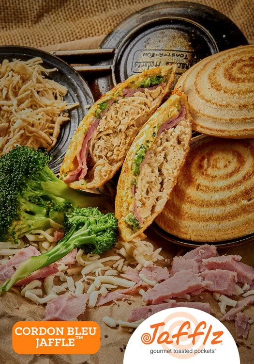 Cordon Bleu Jaffle is Chicken Breast, Ham, Broccoli and Cheese in a Toasted Pocket. Made with All Natural Ingredients and No Junk!